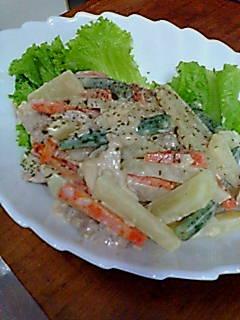 鶏肉ローストとゆで野菜サラダ